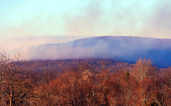 Smoke from a forest fire in the Indian Springs Wildlife Management Area is seen from Funkhouser Road near Clear Spring on Sunday afternoon.