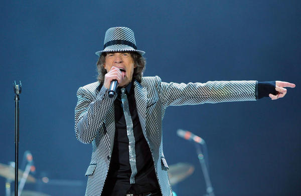 Mick Jagger performs with the Rolling Stones at London's O2 Arena.