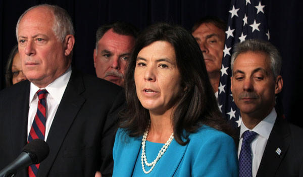 Cook County States Attorney Anita Alvarez at a news conference in June with Gov. Pat Quinn, Police Superintendent Garry McCarthy and Mayor Rahm Emanuel.