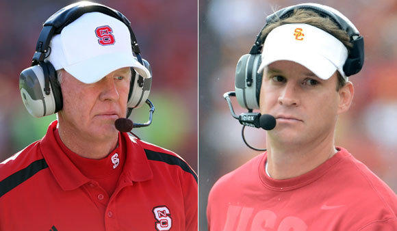 Former N.C. State coach Tom O'Brien, left, and current USC Coach Lane Kiffin both led their programs to 7-5 records in the regular season.