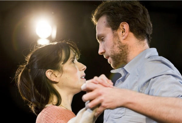 "Sally Hawkins and Rafe Spall in the stage drama ""Constellations"" by Nick Payne. The play, which ran at the Royal Court in London earlier this year, picked up the prize for best play at the Evening Standard Theatre Awards on Sunday."