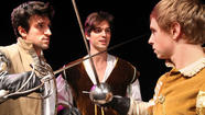In Connecticut Repertory Theatre's new production of William Shakespeare's classic love story <em>Romeo and Juliet</em>, Mercutio (Andrea Pane, left), Romeo (Will Haden, center) and Benvolio (Ryan Marcone) do what any sensible teenage men of their time would do: duel, talk about stuff endlessly, chase girls and fall in love. Romeo and Juliet get a little love-crazy during a random meeting, even though Juliet's already spoken for. The play is one of the most popular and frequently staged works; CRT's version draws upon both Renaissance and contemporary elements to tell the tale. (Spoiler alert: this one doesn't end so well.)