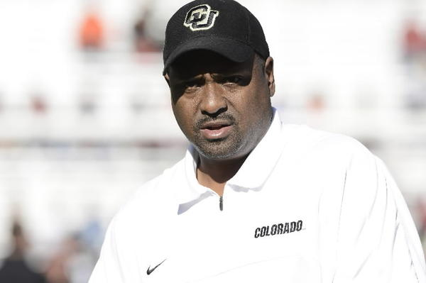 Colorado Buffaloes head coach Jon Embree before the game against the Utah Utes at Folsom Field. Mandatory Credit: Ron Chenoy-US PRESSWIRE