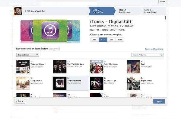 Facebook Gifts has added iTunes credit to its catalog of presents you can send to other Facebook users.