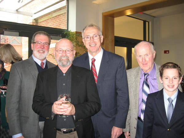 Among those at the program honoring Hal Holbrook at the Mark Twain House and Museum were David Haddox, left, Bob Englehart, Greg Boyko, Andrew Sullivan and Preston Zdrojeski.