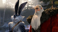 "Bunnymund, voiced by Hugh Jackman, left, and North, voiced by Alec Baldwin, in a scene from ""Rise of the Guardians"" from DreamWorks Animation."