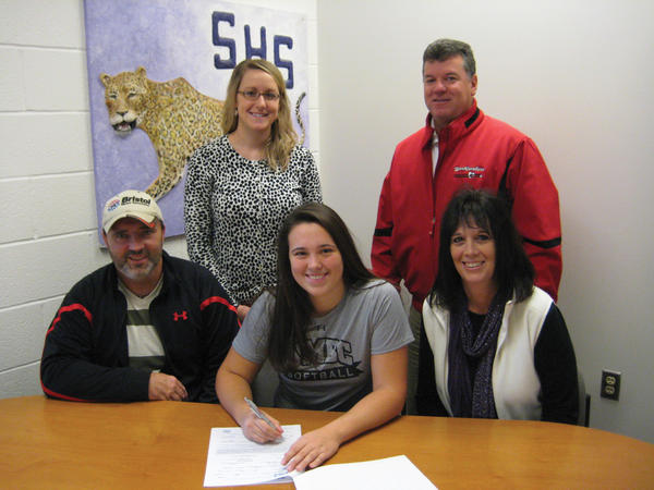 Smithsburg senior Kinsey Shifflett signed her letter of intent to play softball at University of Maryland-Baltimore County on Nov. 14 at Smithsburg High School. From left to right: Standing -- Smithsburg softball head coach Katy Barnhart and Heartbreakers club coach Terry Burdette. Sitting -- father Steve Shifflett, Kinsey Shifflett and mother Lori Shifflett.