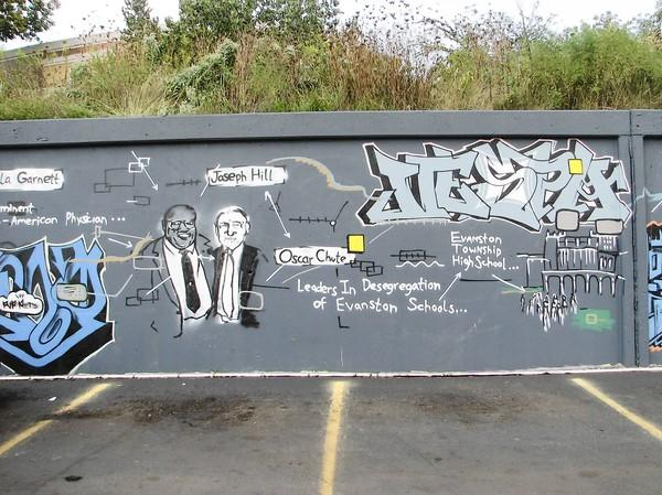 """A Loose History of Evanston,"" a 110-foot mural at Green Bay Road near Emerson Street, stood for 10 years before it was removed by an adjacent property owner."