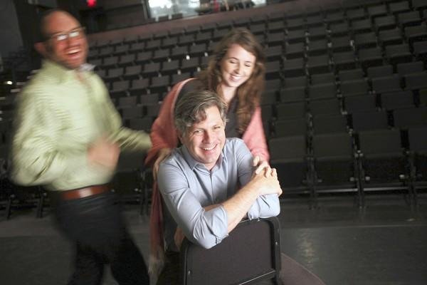 """Director John Collins, center, is leading the helm of the Elevator Repair Service's production of """"Gatz."""" Robert Cucuzza plays Tom and Kristen Sieh plays Catherine."""