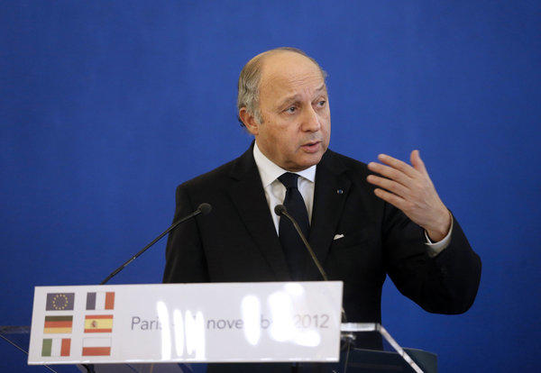 French Foreign Minister Laurent Fabius in Paris this month.