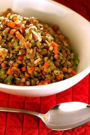 Lentils with pancetta.