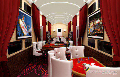 The entertainment car on the proposed X Train between Southern California and Las Vegas promises to be a nightclub on wheels.