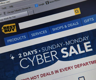 Electronics retailer Best Buy advertises Cyber Monday sales on the store's website today. Americans are expected to spend $1.5 billion while shopping online today, up 20 percent from last year.