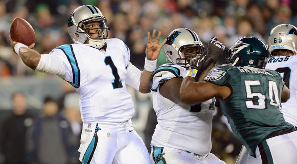 Carolina Panthers quarterback Cam Newton (1) is pressured by Philadelphia Eagles defensive end Brandon Graham (54) at Lincoln Financial Field in Philadelphia on Monday.