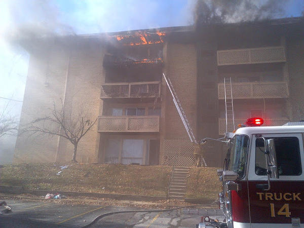 A three-alarm fire ripped through an apartment complex in New Carrollton.