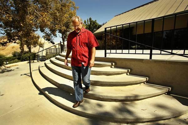 """Bob Childress, pastor of Church of the Canyons in Santa Clarita, worries that the proposed bullet train will go right through his church. """"This will be an excellent test of our faith."""""""