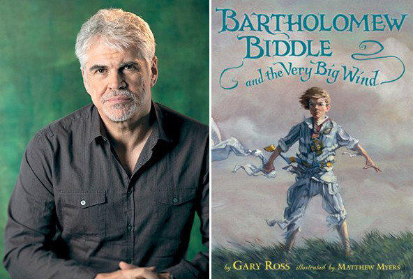 Director and author Gary Ross and the cover of 'Bartholomew Biddle and the Very Big Wind.'
