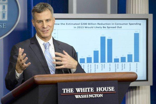 Alan Krueger, chairman of the White House Council of Economic Advisers, speaks to the media about taxes and spending.