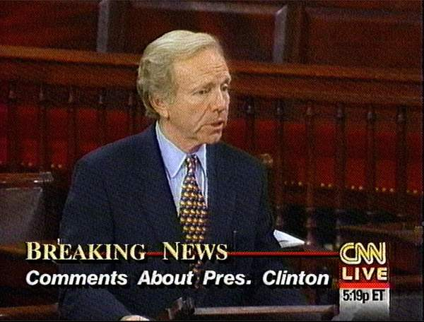 In a somber speech on the Senate floor, Sen. Joseph Lieberman D-Conn. shown in this image from television, said Thursday, Sept. 3, 1998 that President Clinton's behavior with Monica Lewinsky was ``immoral and it is harmful'' and Clinton deserves public rebuke.  ``In this case, the president apparently had extramarital relations with an employee half his age and did so in the workplace in the vicinity of the Oval Office,'' Lieberman said. Lieberman thus became the first member of either party since Clinton's grand jury testimony last month to use the Senate floor to address the issue.