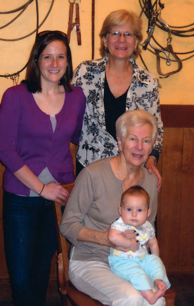 Four generations of a local family are shown.  Anna F. Stup of Hagerstown, seated, is shown with daughter Linda K. Rosko of Boonsboro; granddaughter, Erica R. Robertson of Texas, and great-granddaughter, Evelyn Kay, who was born in March.
