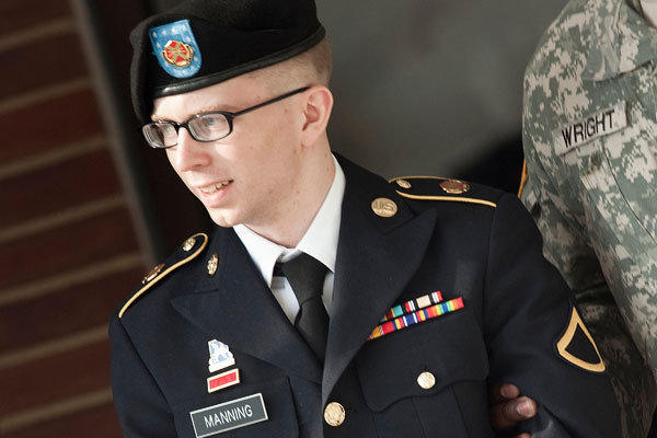 Pfc. Bradley Manning is escorted following a motions hearing in the case U.S. vs. Manning at Ft. Meade, Md.