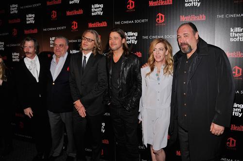 """Killing Them Softly"" actors Ben Mendelsohn, Vincent Curatola, director Andrew Dominik, Brad Pitt, producer Dede Gardner and James Gandolfini."
