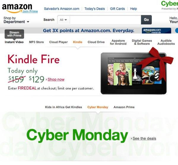 Amazon's front page on Cyber Monday.
