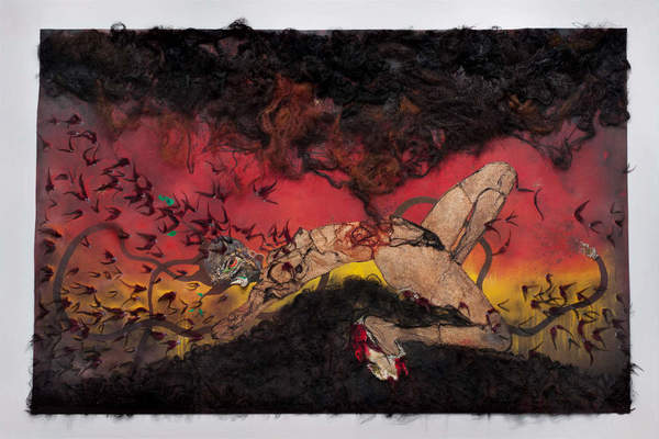 "Wangechi Mutu, ""The storm has finally made it out of me, Alhamdulilah,"" 2012, collage on linoleum, 73 x 114 x 4 inches."