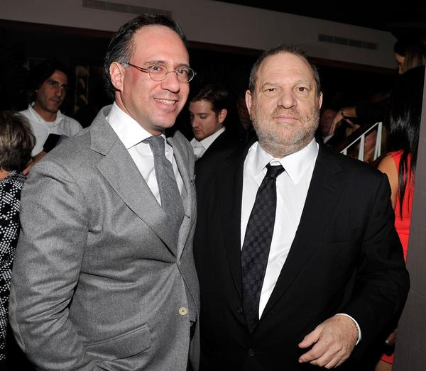 Founder of the Cinema Society Andrew Saffir and Weinstein Co. co-chairman Harvey Weinstein.