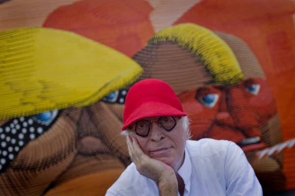Tony Goldman visits the Wynwood Walls which he was instrumental in creating. The walls were repainted by seven acclaimed international and national artists to build momentum for Art Basel 2011.