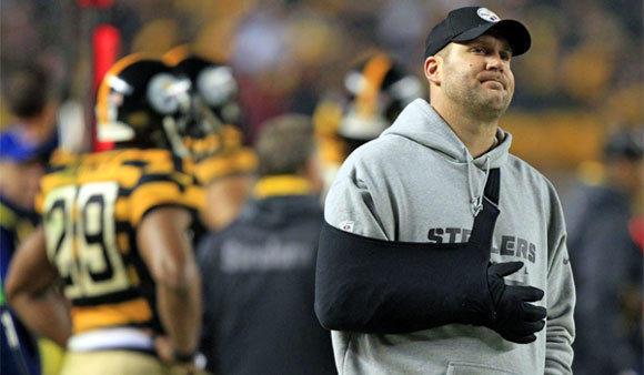Injured quarterback Ben Roethlisberger watches the Pittsburgh Steelers play the Baltimore Ravens on Nov. 18.