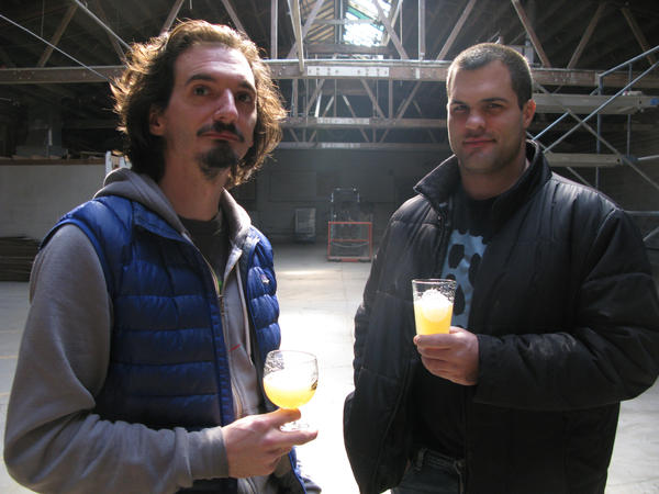John Laffler (left) and Dave Bleitner, owners of Off Color Brewing, located near Armitage and Pulaski in Chicago. Laffler is a former Goose Island brewer and Bleitner was a brewer at Two Brothers in Warrenville. They plan to start producing beer in March in this warehouse.