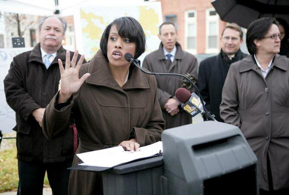 Mayor Stephanie Rawlings-Blake announces an expansion of the Vacants to Value program Tuesday near some homes that have been refurbished through the program in the 1200 block of North Broadway in East Baltimore.