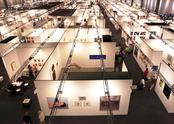 Overhead look of the art gallery booths at the  2003 Art  Basel in Miami Beach's Convention Center.