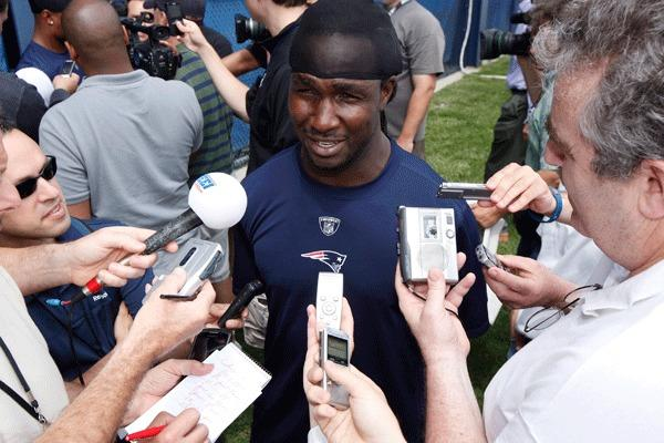 New England Patriots running back Joseph Addai takes questions from reporters after mini camp at the Gillette Stadium practice facility. Mandatory Credit:
