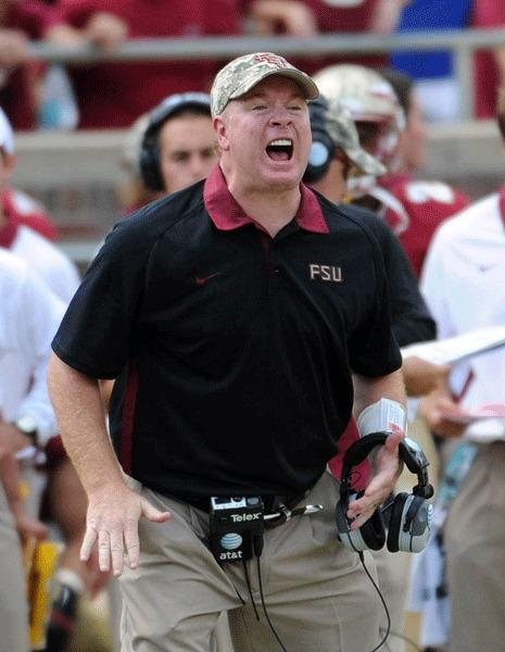 Florida State Seminoles defensive coordinator Mark Stoops yells to a player during the game against the Wake Forest Demon Deacons at Doak Campbell Stadium.