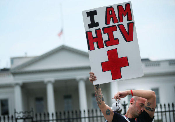 HIV positive patient demonstrating in DC