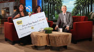 Family accepts check on The Ellen DeGeneres Show