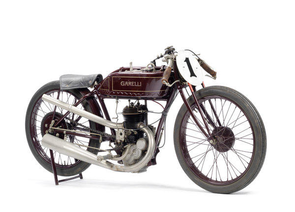 A 1926 348-cc Garelli heads a procession of classic Italian motorcycles headed for auction in February.