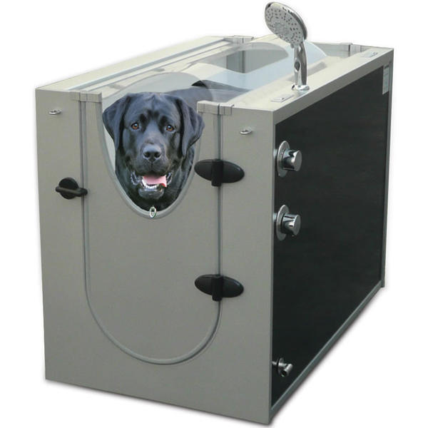 "Sixteen water-jet nozzles and an adjustable hand-held shower head wash your dog in an enclosed space -- without you getting wet. At least that's the premise of this dog spa, which connects to a spigot or faucet using adapters and a garden hose or a ½ inch braided metal hose.    <br><br> $1,250, <a href=""http://www.hammacher.com""><FONT COLOR=""0000FF"">Hammacher Schlemmer</FONT></a>"