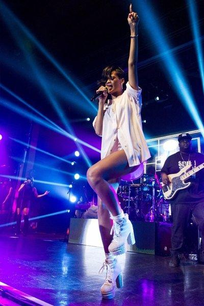 Rihanna performs earlier this month. She'll meet fans at the launch of her new fragrance, Nude by Rihanna.
