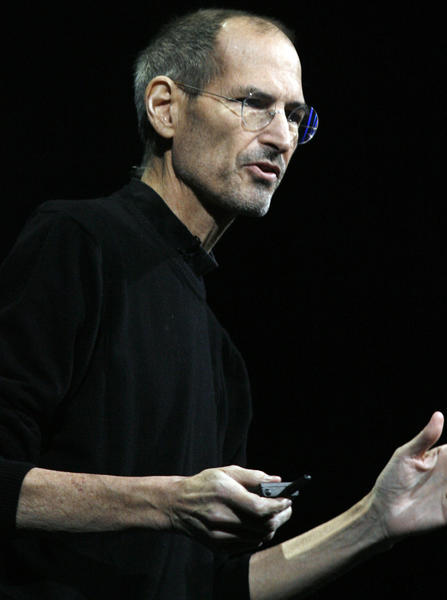 Former Apple CEO Steve Jobs introduces Apple's next generation computer operating system Mac OS X Lion, the mobile operating system iOS 5, and the internet storage service iCloud during the Apple Worldwide Developers Conference at the Moscone Center in San Francisco in this June 6, 2011 file photo in California.
