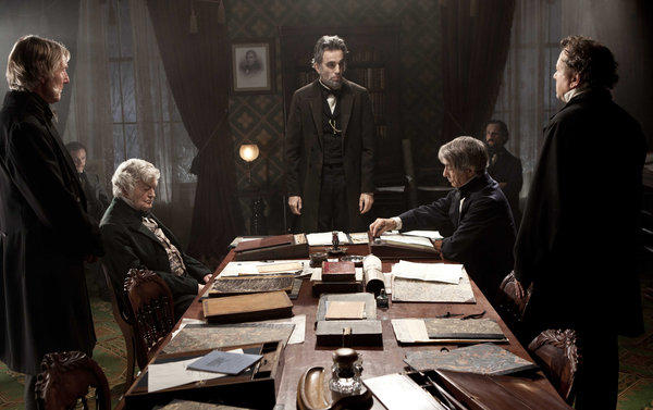 "Daniel Day-Lewis, center rear, stars as Abraham Lincoln in Steven Spielberg's film biography of the 16th president. ""I thisnk it's fair to say that Abraham Lincoln had convictions. But he constantly was making concessions and compromises,"" President Obama told voters at a 2011 town meeting."
