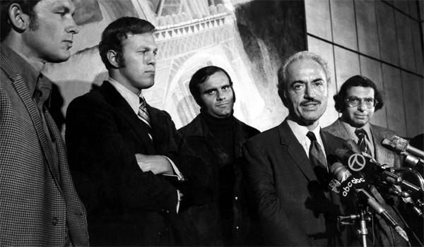 Marvin Miller, second from right, executive director of the Major League Baseball Players Assn., announces an end to the players' strike at a news conference on April 13, 1972. With Miller are players, from left, Gary Peers of the Boston Red Sox, Wes Parker of the Dodgers, and Joe Torre of the St. Louis Cardinals. At right is Dick Moss, assistant counsel for the association.