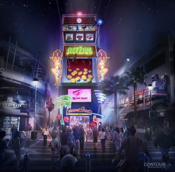 An artist's rendering of SlotZilla, a new thrill ride set to open in June at the downtown Fremont Street Experience in Las Vegas.