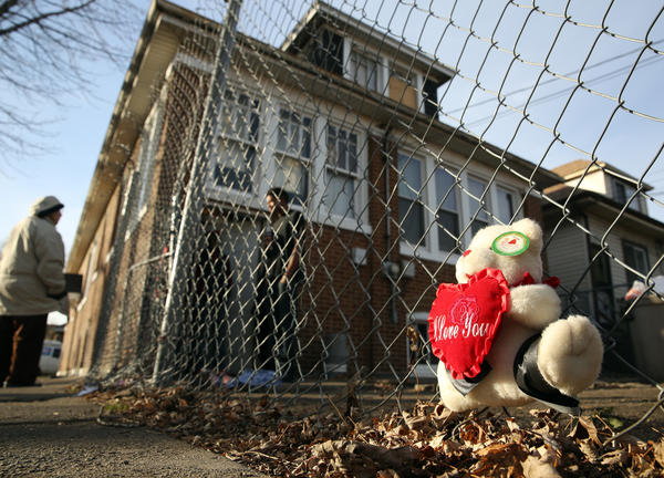 A stuffed toy bear was placed near the area where 15-year-old Porshe Foster was fatally shot the night before, in the 6900 block of S. Campbell Ave.