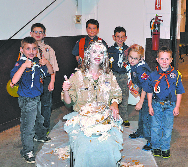 Cub Scouts from Pack 58 in Downsville who sold more than $850 during the Trails End popcorn fundraiser earned the right to throw a pie into the face of Cubmaster Sandy Miner. The lucky six took aim during the packs annual Thanksgiving dinner. Approximately 100 Scouts and family members attended the Nov. 12 dinner at Washington County Agricultural Education Center.
