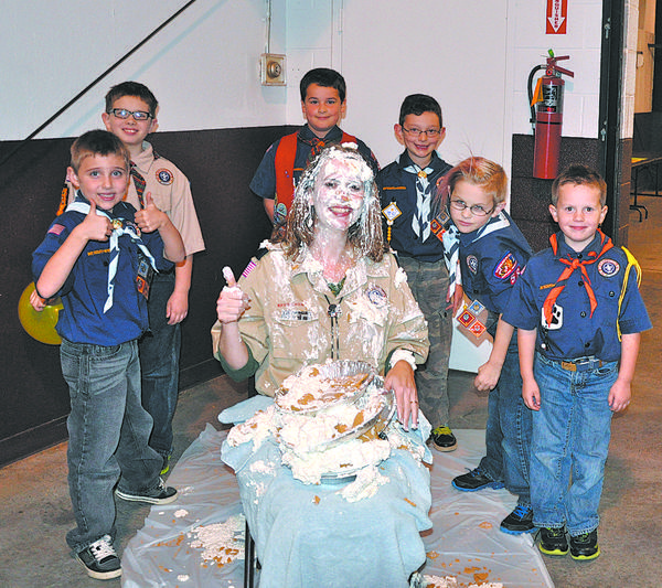 Cub Scouts from Pack 58 in Downsville who sold more than $850 during the Trail¿s End popcorn fundraiser earned the right to throw a pie into the face of Cubmaster Sandy Miner. The lucky six took aim during the pack¿s annual Thanksgiving dinner. Approximately 100 Scouts and family members attended the Nov. 12 dinner at Washington County Agricultural Education Center.