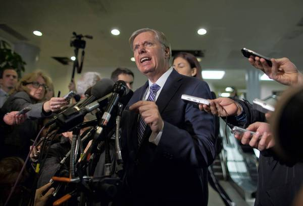 Sen. Lindsey Graham (R-S.C.) speaks to reporters after meeting with Susan Rice, U.S. ambassador to the United Nations.