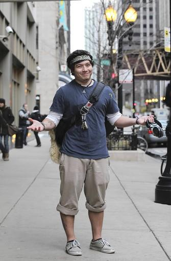"Jason Carrazco, 21, college student, Chicago:<br> <br> ""I like being cool and cold,"" said Carrazco. Mission accomplished. This ensemble is fine, he said. ""Until we get a blizzard. I might consider a sweater. Gloves? Maybe. I do wear a sweater sometimes,"" he said.<br> <br> To the amazement of his parents and three sisters, he doesn't own a hat, boots or a parka and says he's fine even on the coldest subzero days. ""I've got a poncho, Mexican hoodie thing."" The earphones he's holding serve as his ear muffs.<br> <br> Yes, his mom lectures him. ""She says, 'You're not cold? It's freezing. You need a jacket.'"" But he doesn't listen. As for his friends, ""They always have a flabbergasted look on their face. They always ask me if I want a sweater or a jacket or something."" He always says, ""No thanks."""